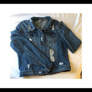 HIGHWAY JEAN Distressed Denim Jacket